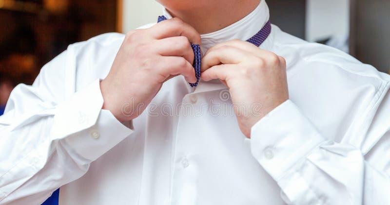 Mannen bär en fluga royaltyfri foto