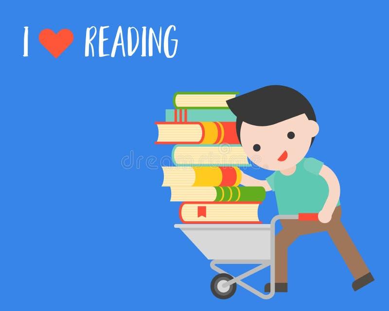 Mannen bär en hög av boken med vagnen, begrepp för världsbokdag royaltyfri illustrationer