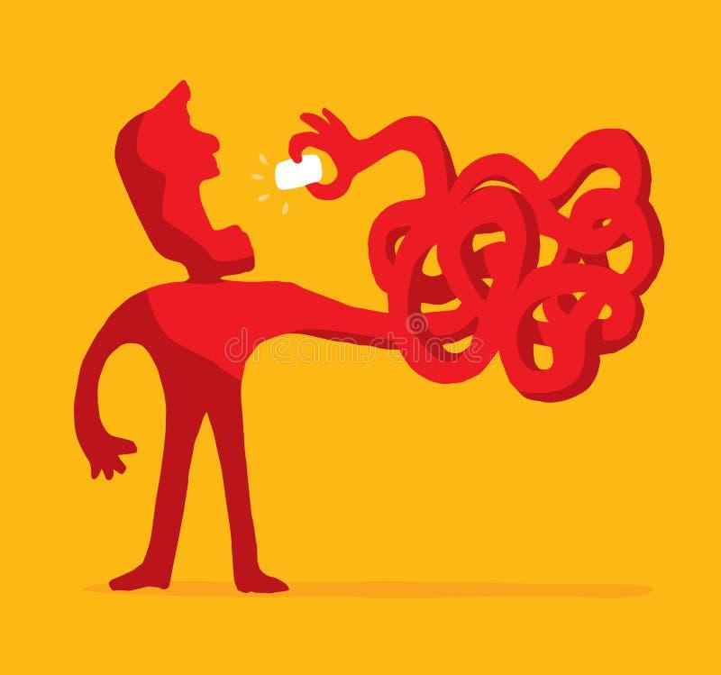 Mannen bantar på eller äta oordning som griper en tugga stock illustrationer