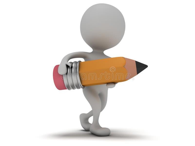 mannen 3d går med blyertspennan på vit stock illustrationer