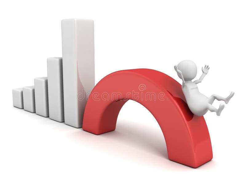 mannen 3d glider ner på graf för krisfinansstång vektor illustrationer