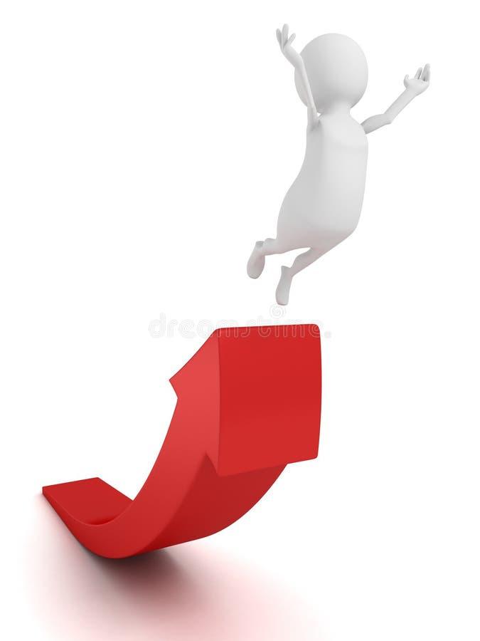 mannen 3d hoppar upp till framgång på röd växande pil royaltyfri illustrationer