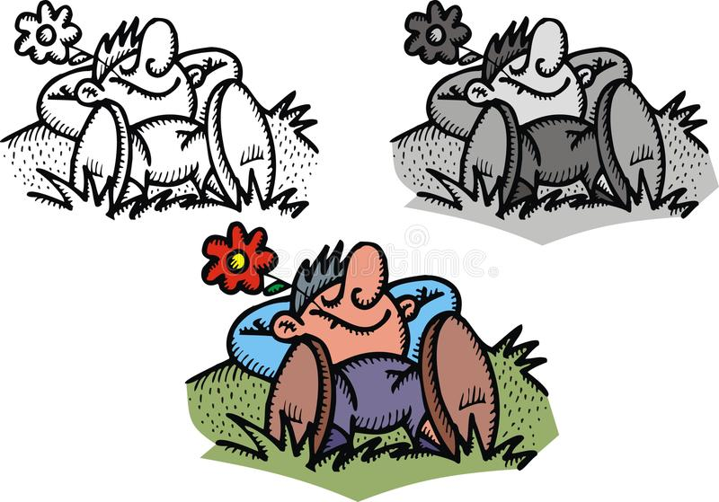 Mannen drömmer i liten trädgård royaltyfri illustrationer