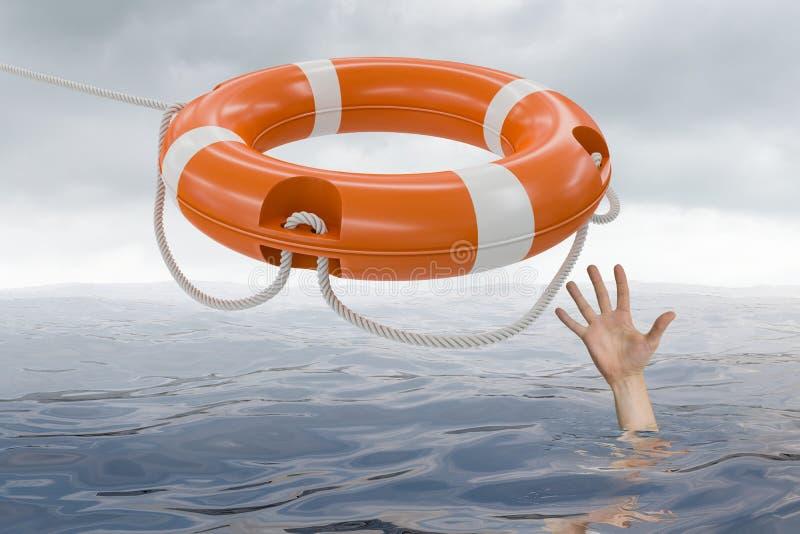 Mannen drunknar i havet och fångar livbojet vektor illustrationer