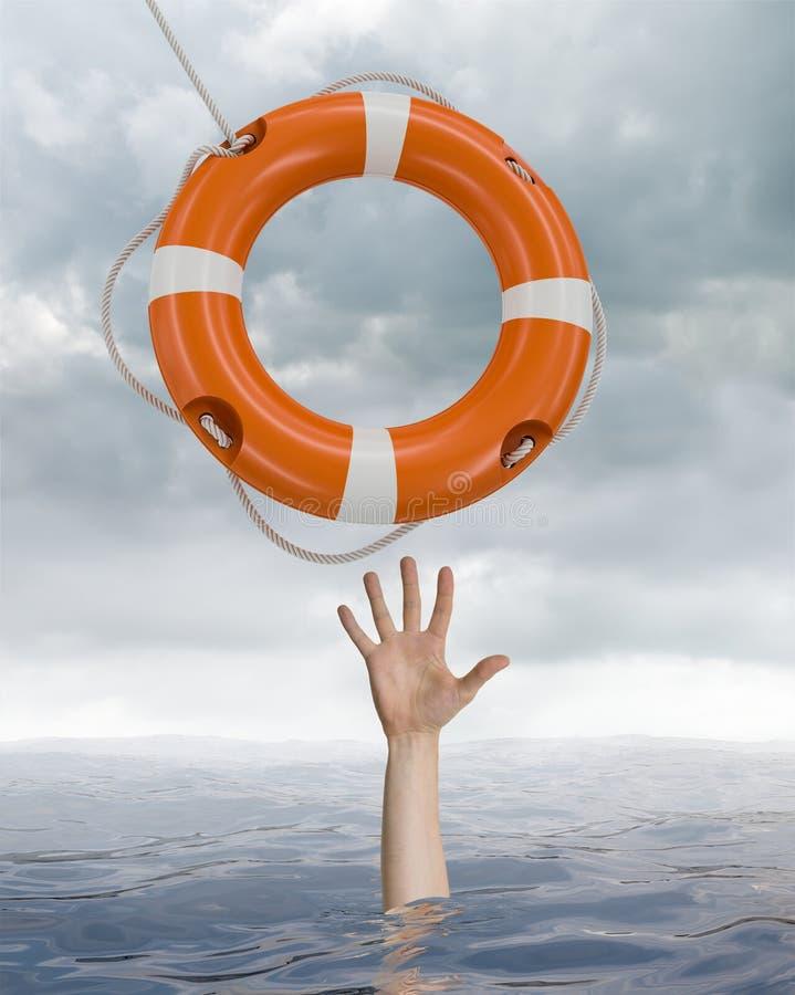 Mannen drunknar i havet och fångar livbojet royaltyfri illustrationer