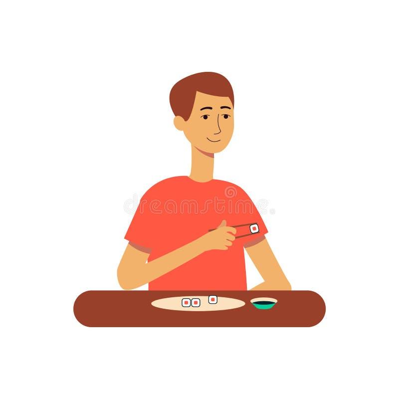 Mannen eller den unga grabben äter för tecknad filmvektorn för den japanska sushi den isolerade plana illustrationen royaltyfri illustrationer