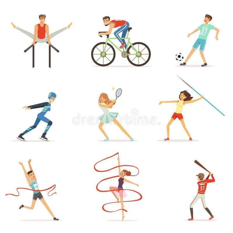 Mannen en vrouwen die diverse soorten sporten, de kleurrijke vectorillustraties van sportmensen doen vector illustratie