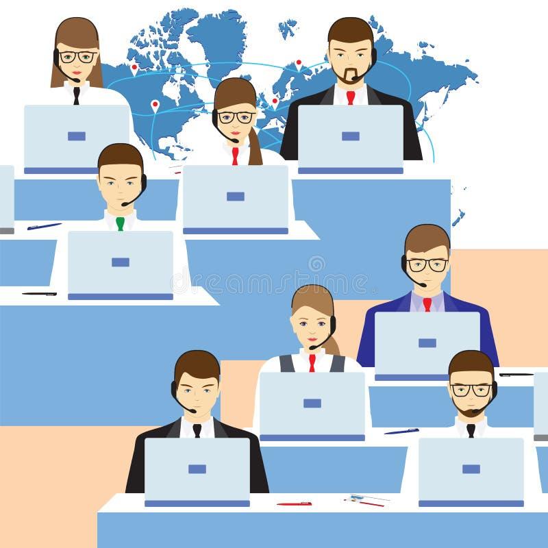 Mannen en vrouwen die in een call centre werken De dienst van de steun stock illustratie