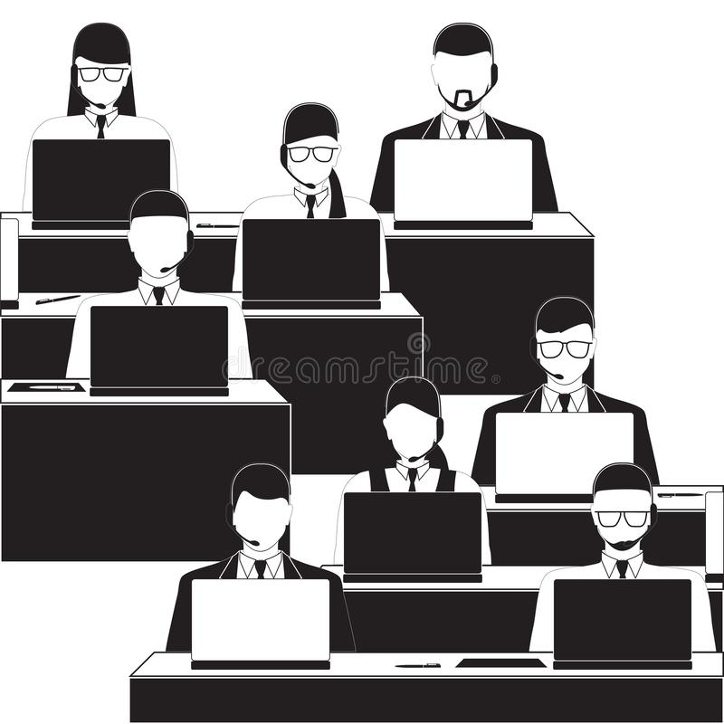 Mannen en vrouwen die in een call centre werken Zwart-witte silhouetten royalty-vrije stock afbeelding