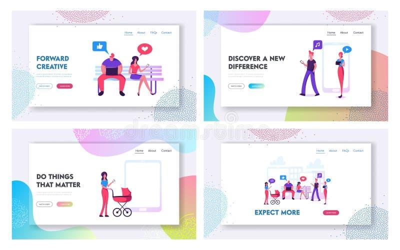 Mannen en Vrouwen die het Landingspaginareeks van de Gadgetswebsite, Menigte gebruiken van Mensentribune met het Babbelen en Text vector illustratie