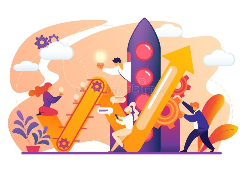 Mannen en Vrouwen die Raket voor Goed Opstarten voorbereiden vector illustratie
