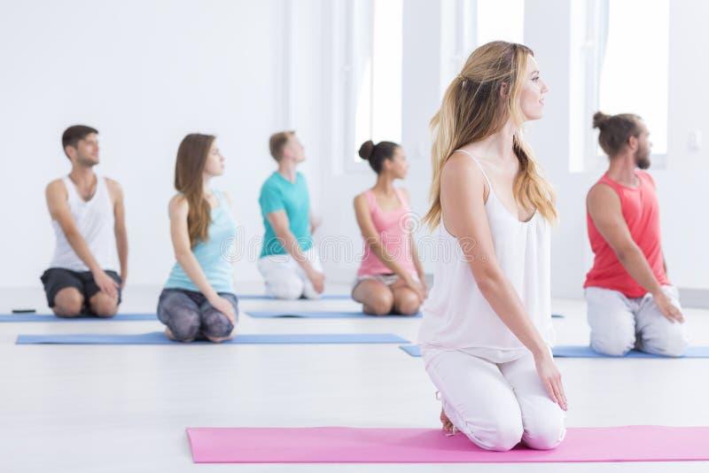 Mannen en vrouwen die yoga doen royalty-vrije stock foto's