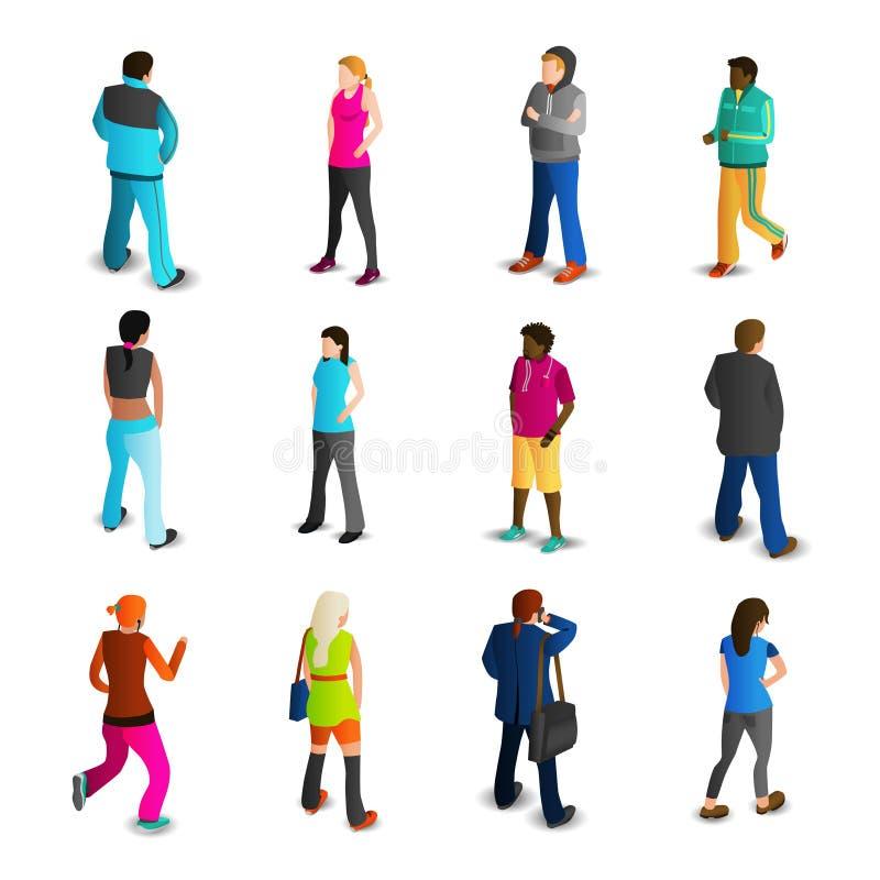Mannen en Vrouwen Geplaatste Pictogrammen vector illustratie