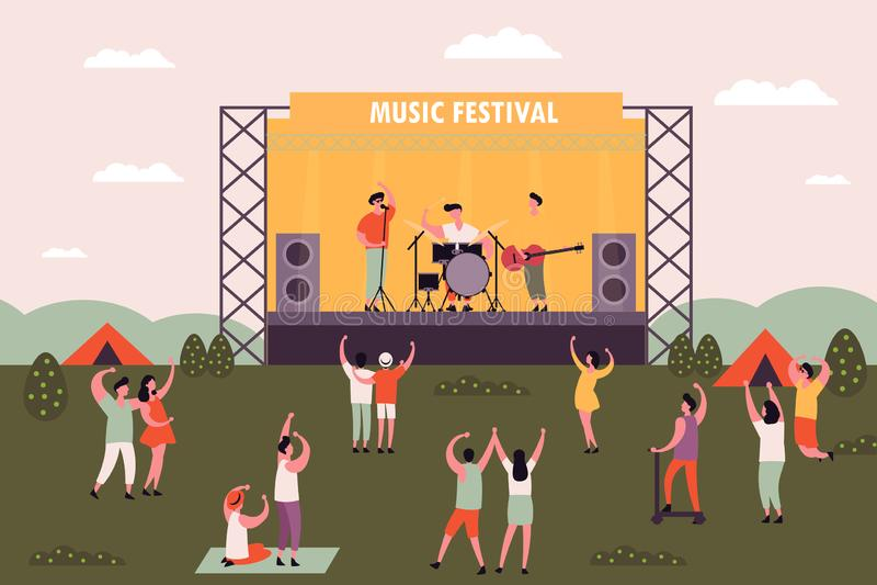Mannen en vrouwen, mensen die bij muziekfestival dansen vector illustratie