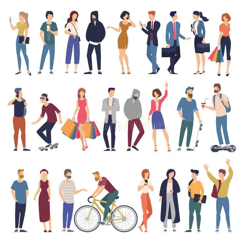 Mannen en vrouwen vlakke het beeldverhaalkarakters van de ontwerpstijl stock illustratie