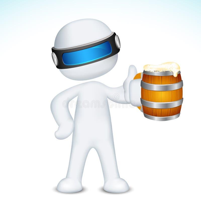 mannen för öl 3d rånar vektorn stock illustrationer