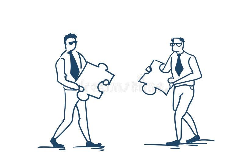 Mannen för affär som två sätter begrepp för figursåg för pusselstycklag funktionsdugligt på vit bakgrund, skissar klotter stock illustrationer