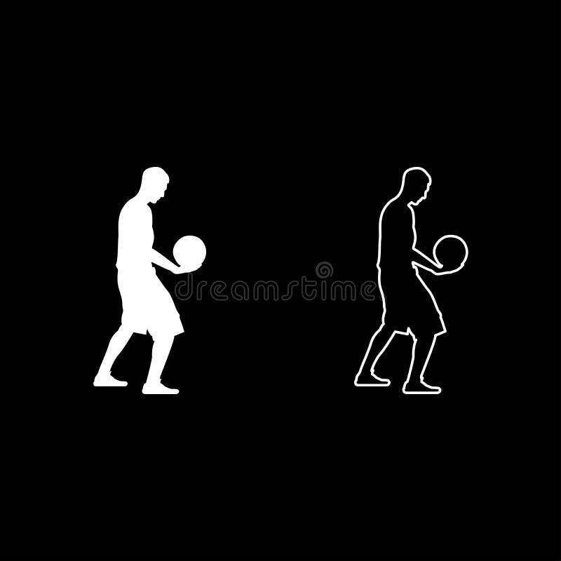 Mannen för bollen för innehavet för basketspelaren som rymmer basketkontursymbolen, ställde in enkel bild för vit stil för färgil stock illustrationer