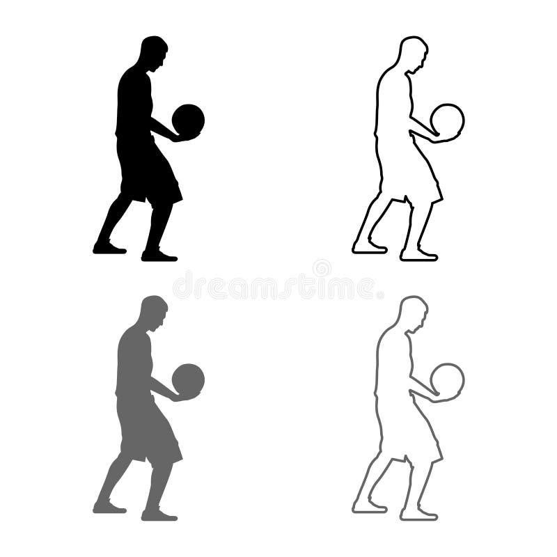 Mannen för bollen för innehavet för basketspelaren som rymmer basketkontursymbolen, ställde in plan stil för grå svart översikt f stock illustrationer