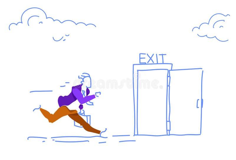 Mannen för dörren för utgången för affärsmankörningen skynda sig den öppna upp evakueringen som nöd- horisontal skissar klotter royaltyfri illustrationer