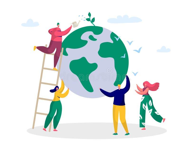 Mannen för jorddagen sparar den gröna planetmiljön Folk av världsvattenväxten för ekologiberömförberedelsen i April stock illustrationer