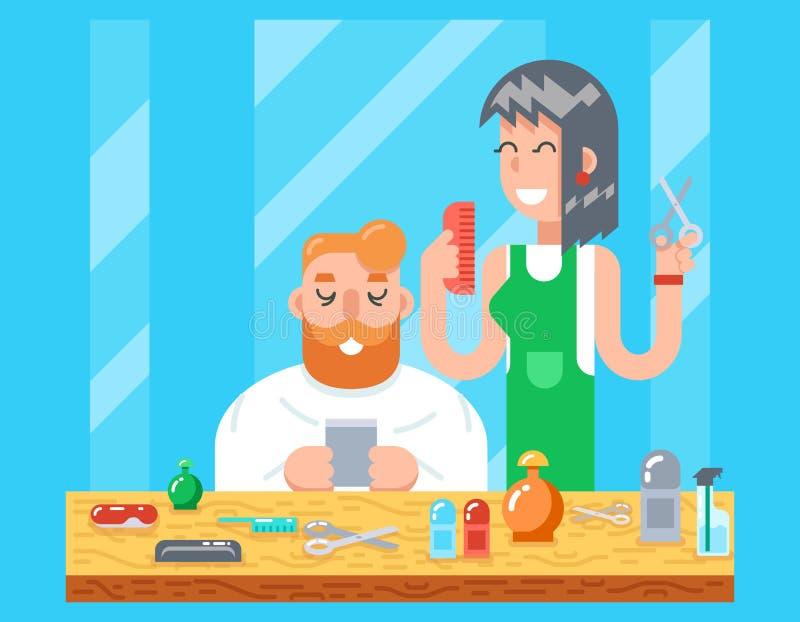 Mannen för teckenet för barberarehipstergeeken planlägger den online-mobila och den ledar- frisyrsymbolen för kvinnlig på stilful stock illustrationer