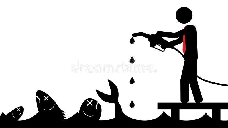 Mannen förorenar havet stock illustrationer