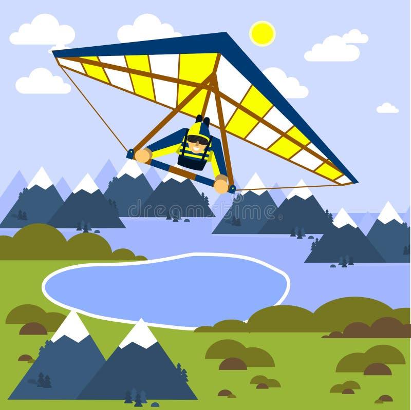 Mannen flyger en hängningglidflygplan Stillägenhet också vektor för coreldrawillustration vektor illustrationer