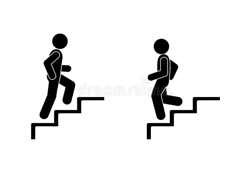 Mannen går uppåt- och neråt trappan, pinnediagramet pictograms folk, mänsklig kontur royaltyfri illustrationer