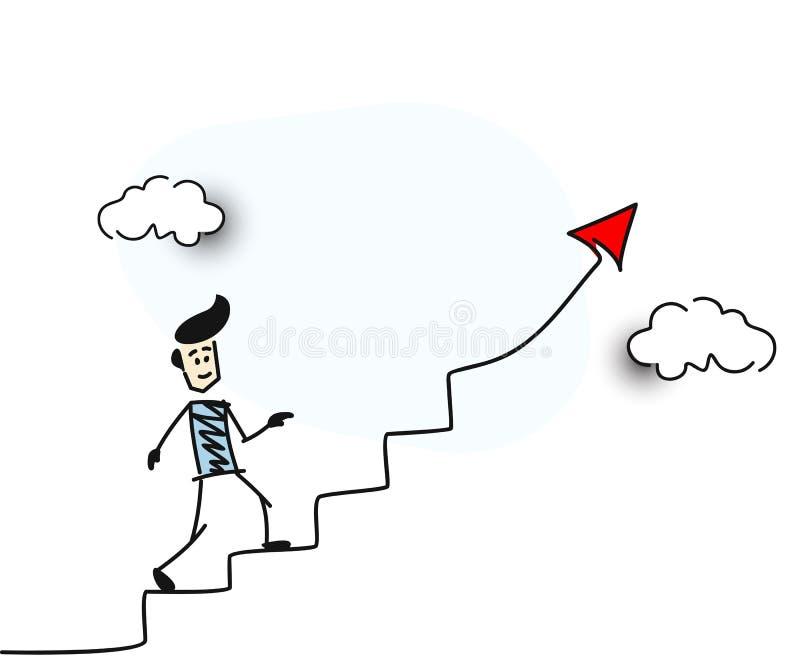 Mannen går upp symbol för framgång för röd pil för trappa finansiellt stock illustrationer