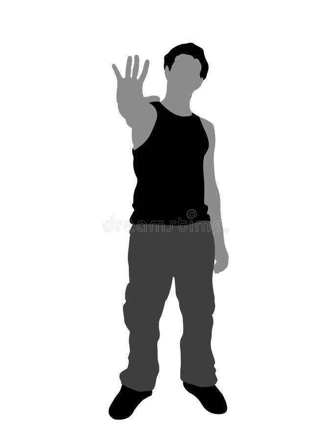 mannen gömma i handflatan uppvisning vektor illustrationer