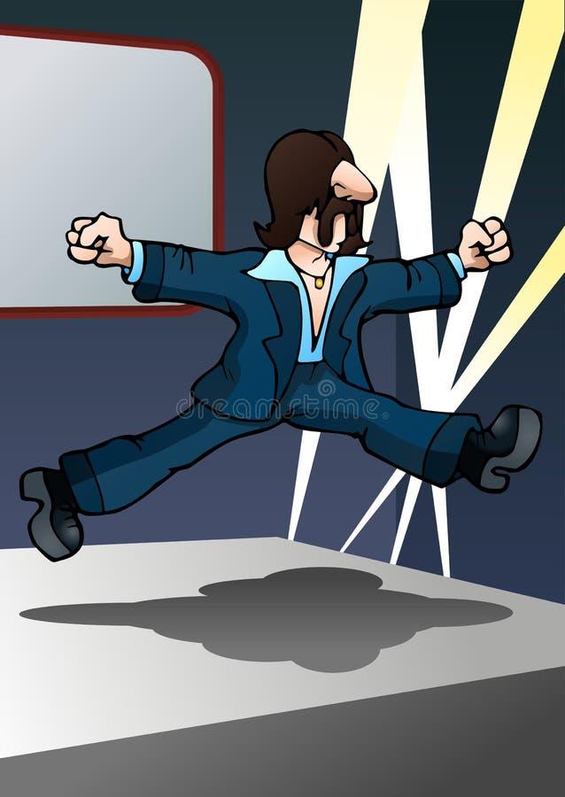 mannen gör banhoppningdans stock illustrationer