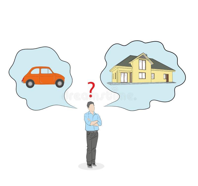 Mannen gör ett val mellan en bil och ett hus också vektor för coreldrawillustration royaltyfri illustrationer