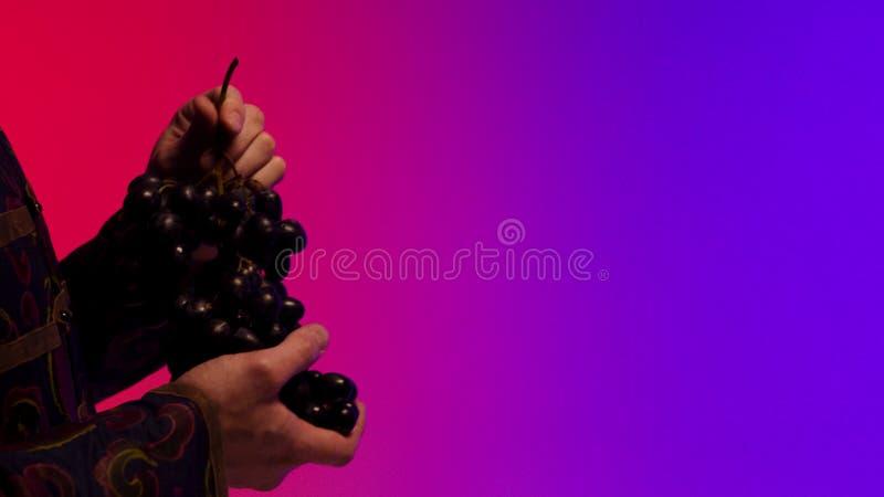 Mannen ger en grupp av stora, svarta saftiga druvor till händer för den gamla kvinnan som isoleras på färgglad bakgrund materiel  royaltyfria foton