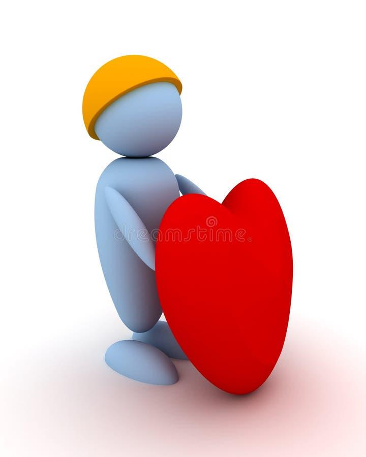 Mannen ger en hjärta stock illustrationer