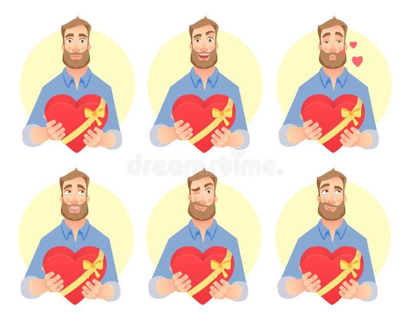 Mannen ger hjärta vektor illustrationer