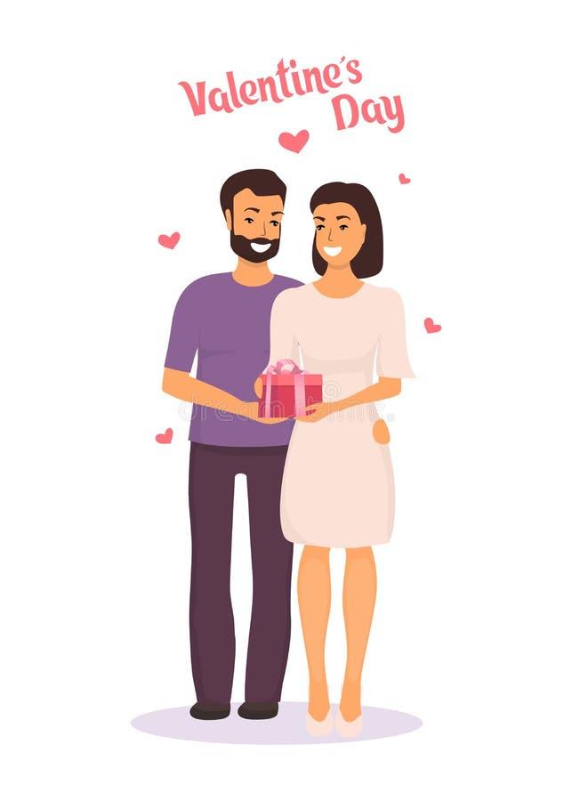 Mannen ger kvinnan en gåva för dag för valentin s och kramar henne Lyckliga par som är förälskade på dag för valentin s Vektorill royaltyfri illustrationer