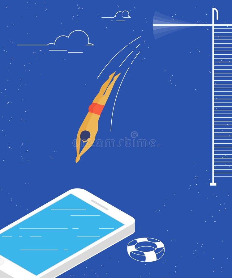 Mannen hoppar in i den begreppsmässiga illustrationen för smartphonen av social nätverkande och nöjt konsumera stock illustrationer