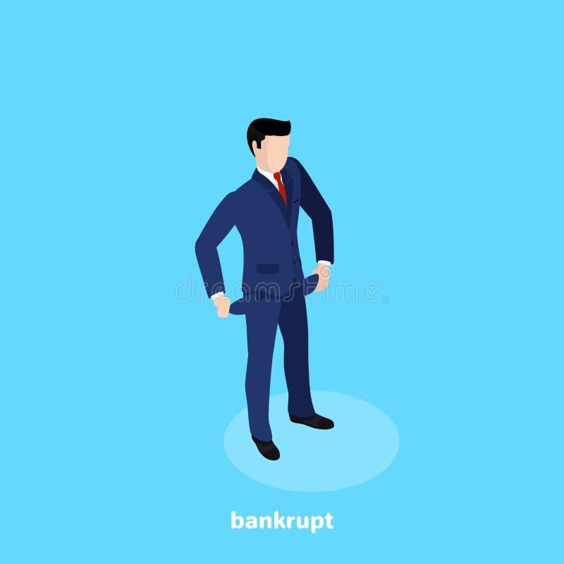 Mannen i affärsdräkten vände ut tomma fack i hans byxa royaltyfri illustrationer