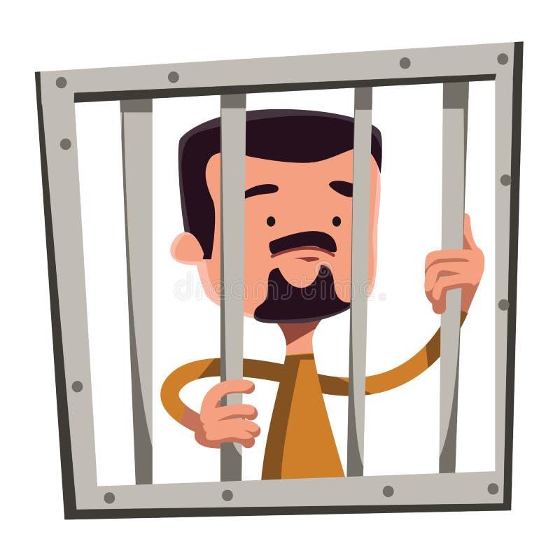 Mannen i arrestinnehav bommar för illustrationtecknad filmteckenet vektor illustrationer