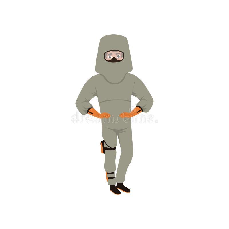 Mannen i avancerat bombarderar dräkten och hjälmen Förfogandetekniker för explosivt artilleri Farligt yrke Plan vektordesign stock illustrationer