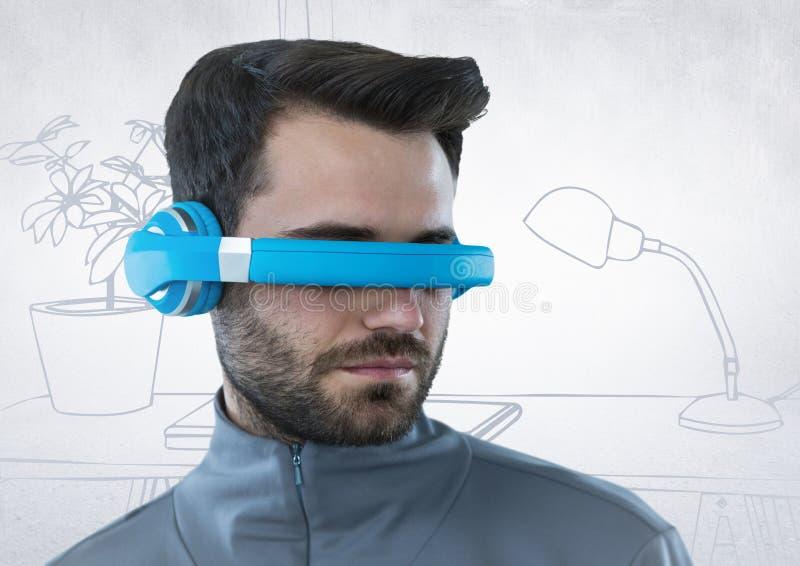 Mannen i blå virtuell verklighethörlurar med mikrofon mot vit och grå färger räcker det utdragna kontoret royaltyfri fotografi
