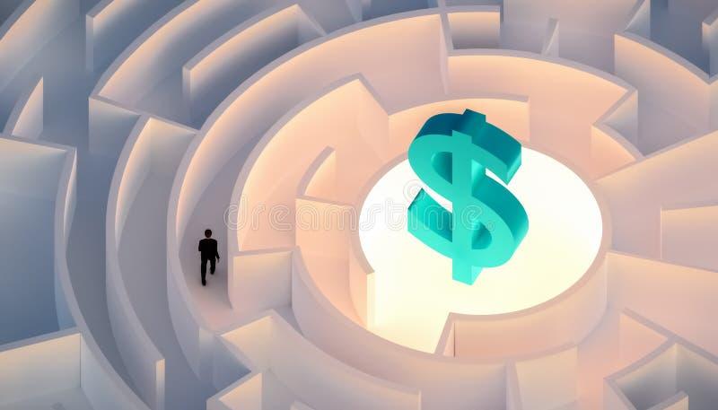 Mannen i dräkt som går i en labyrint eller en labyrint som söker eller söker efter rikedom eller pengar, symboliserade vid ett do stock illustrationer