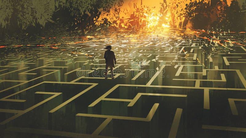 Mannen i ett bränt labyrintland stock illustrationer