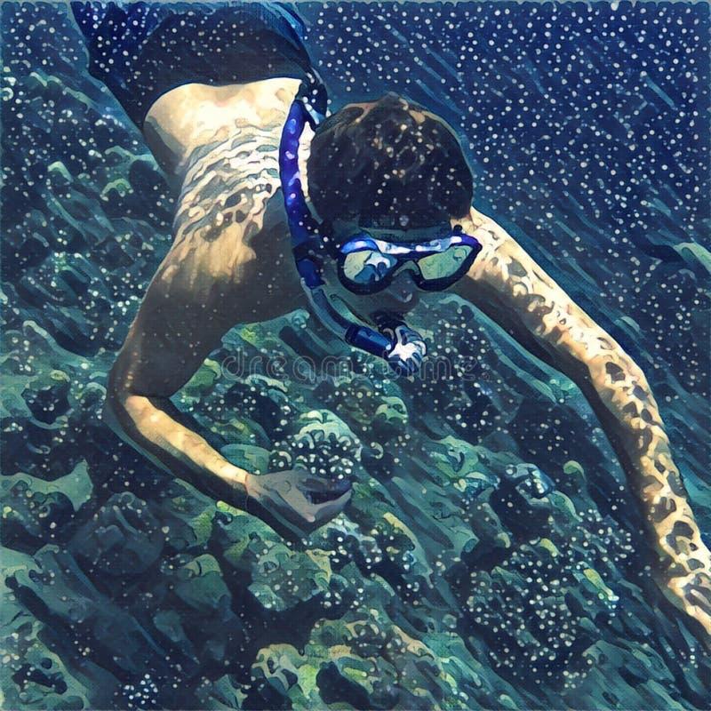 Mannen i maskering snorklar i korallrev Den Digital illustrationen av den tropiska havssnorkeln dyker under vatten stock illustrationer
