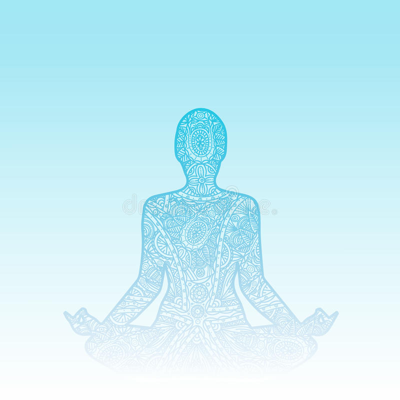 Mannen i meditation - klottra zentangleprydnadkonturn stock illustrationer