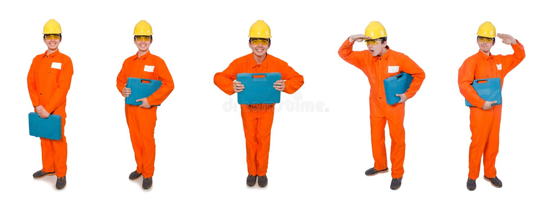 Mannen i orange overaller som isoleras på vit royaltyfri fotografi