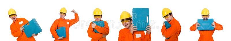 Mannen i orange overaller som isoleras på vit arkivfoto