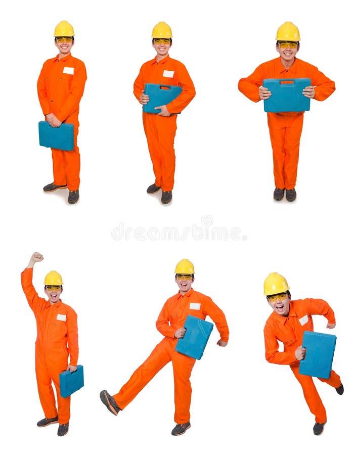 Mannen i orange overaller som isoleras på vit royaltyfria foton