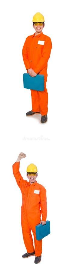Mannen i orange overaller som isoleras på vit arkivbild